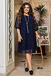Ошатне плаття жіноче Креп дайвінг і флок на сітці Розмір 50 52 54 56 58 60 62 64 Різні кольори, фото 4