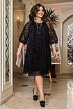 Ошатне плаття жіноче Креп дайвінг і флок на сітці Розмір 50 52 54 56 58 60 62 64 Різні кольори, фото 5