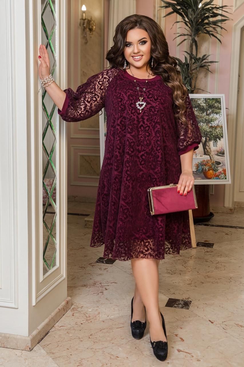 Ошатне плаття жіноче Креп дайвінг і флок на сітці Розмір 50 52 54 56 58 60 62 64 Різні кольори