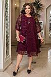 Ошатне плаття жіноче Креп дайвінг і флок на сітці Розмір 50 52 54 56 58 60 62 64 Різні кольори, фото 6