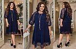 Ошатне плаття жіноче Креп дайвінг і флок на сітці Розмір 50 52 54 56 58 60 62 64 Різні кольори, фото 8