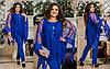 Ошатний жіночий вечірній костюм: блуза-разлетайка з вишивкою і штани, батал великі розміри, фото 3