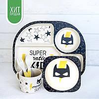Бамбуковая посуда для детей бэтмен Stenson из 5 предметов