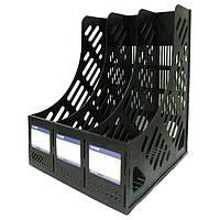 Лоток вертикальный Economix 3 отделения сборный черный 31903