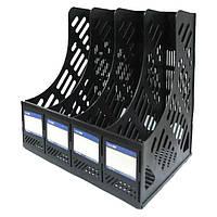 Лоток вертикальный Economix 4 отделения сборный черный E31902-01