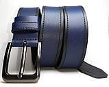 Чоловічий ремінь шкіряний Fs.Style 110-130 см Синій, фото 2