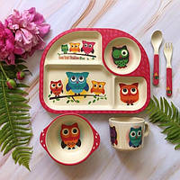 Набор детской посуды бамбуковый 5 приборов Сова Stenson
