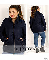 Стильная куртка плюс сайз з подкладкой, короткая куртка на молнии
