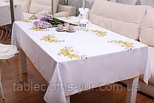 Скатертина Великодня 145-220  «Пташки» Жовтий візерунок Біла