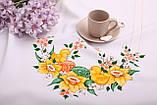 Скатертина Великодня 145-220  «Пташки» Жовтий візерунок Біла, фото 2