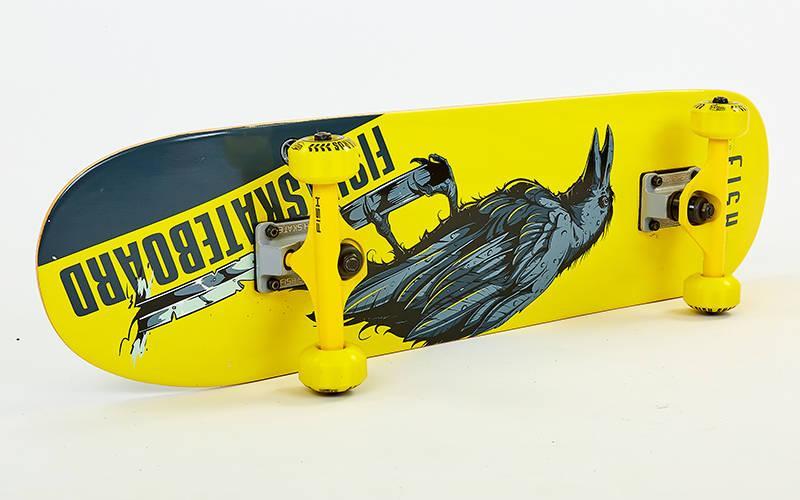 Дерев'яний Скейтборд в зборі з канадського клена 31in FISH CROW SK-414-8 (жовтий-чорний)