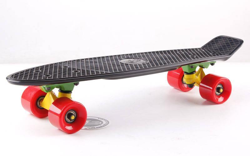Скейтборд пластиковый Penny Original FISH 22in однотонная дека SK-401-5 (черный-желтый-красный)