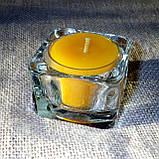 Стеклянный подсвечник с прозрачной воскововой чайной свечой 24г в коробке Бежевый Крафт, фото 6