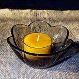 Стеклянный подсвечник с прозрачной воскововой чайной свечой 24г в коробке Бежевый Крафт, фото 10