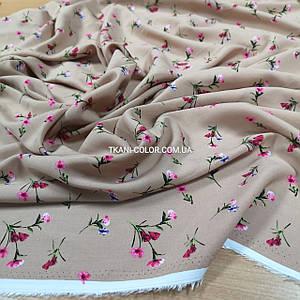 Ткань штапель принт мелкие цветочки на бежевом