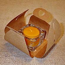 Стеклянный подсвечник с прозрачной воскововой чайной свечой 24г в коробке Бежевый Крафт