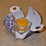 Стеклянный подсвечник с прозрачной воскововой чайной свечой 24г в коробке Бежевый Крафт, фото 5