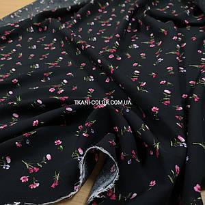 Ткань штапель принт мелкие цветочки на черном
