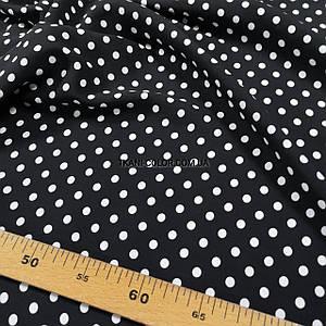 Ткань штапель принт белый горох 7мм на черном
