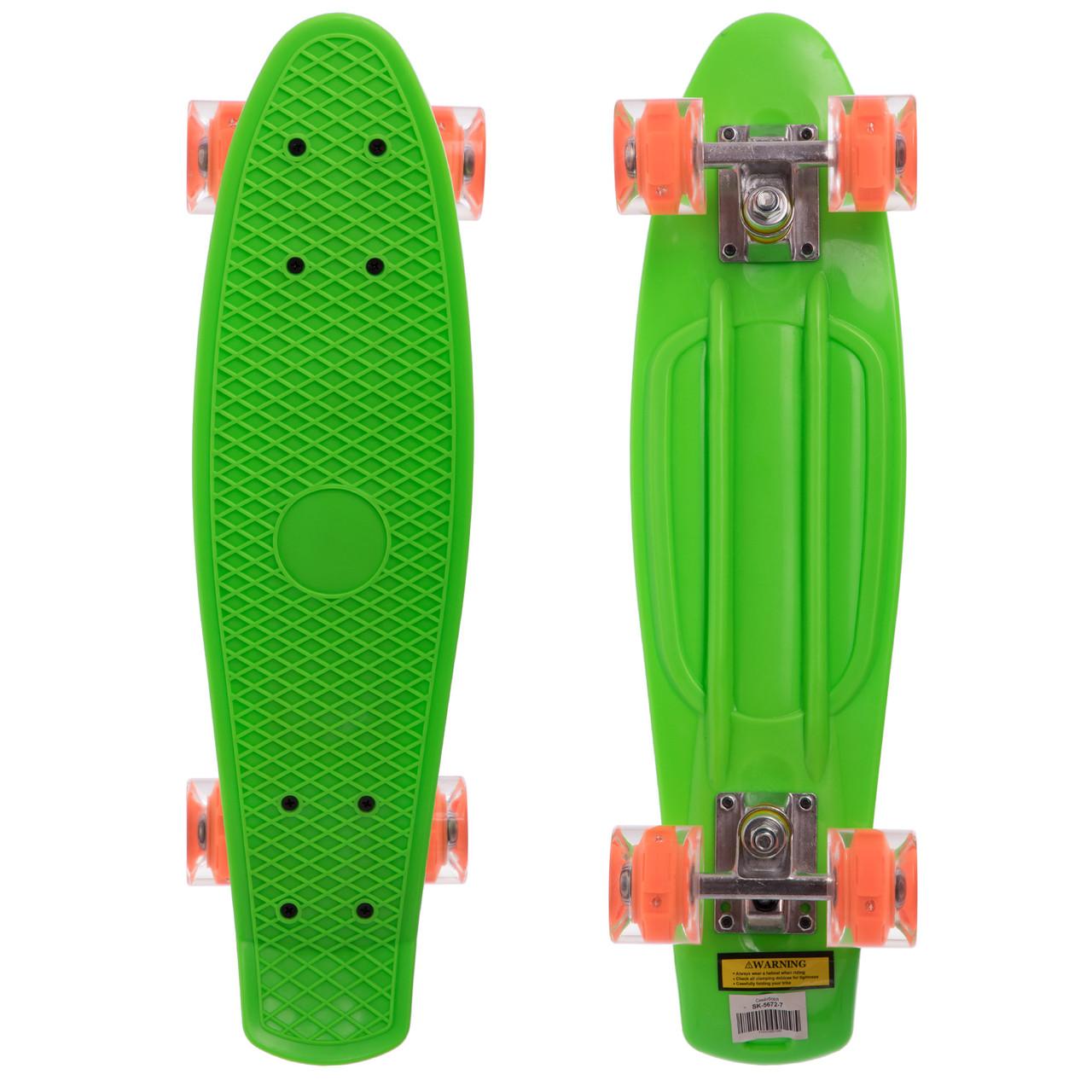 Скейтборд пластиковий Penny LED WHEELS 22in зі світними колесами SK-5672-7 (салатовий-помаранчевий)