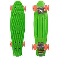 Скейтборд пластиковий Penny LED WHEELS 22in зі світними колесами SK-5672-7 (салатовий-помаранчевий), фото 1