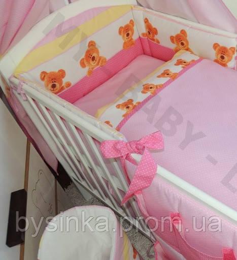 Бортик высокий, раздельный с чехлами на молнии и постель в кроватку детскую