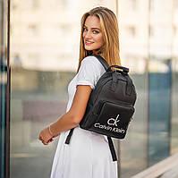 Стильный женский рюкзак Calvin Klein с эко-кожи, модный городской рюкзачок для девушек, цвет черный