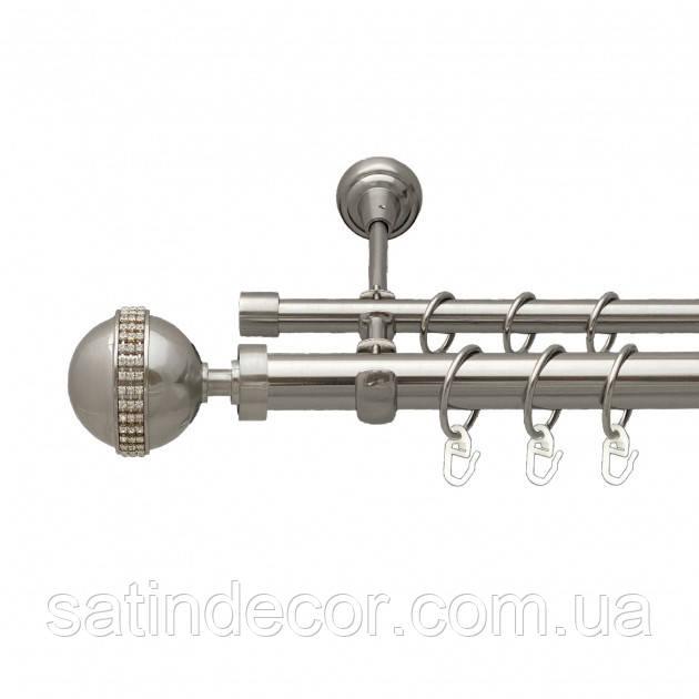 Карниз для штор металевий АВЕЯ подвійний 25+19 мм 2.4м Сталь