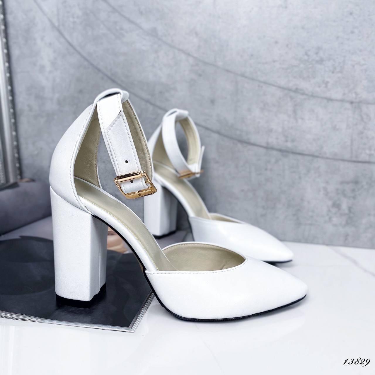 Туфли женские белые на каблуке натуральная кожа