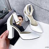 Туфли женские белые на каблуке натуральная кожа, фото 3