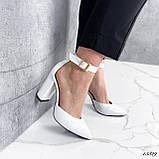 Туфли женские белые на каблуке натуральная кожа, фото 4