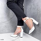 Туфли женские белые на каблуке натуральная кожа, фото 8