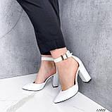 Туфли женские белые на каблуке натуральная кожа, фото 5