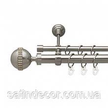 Карниз для штор металевий АВЕЯ подвійний 25+19 мм 1.6 м Сталь