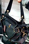 Женская качественная сумка 30*27 см, черная кожзам, фото 2