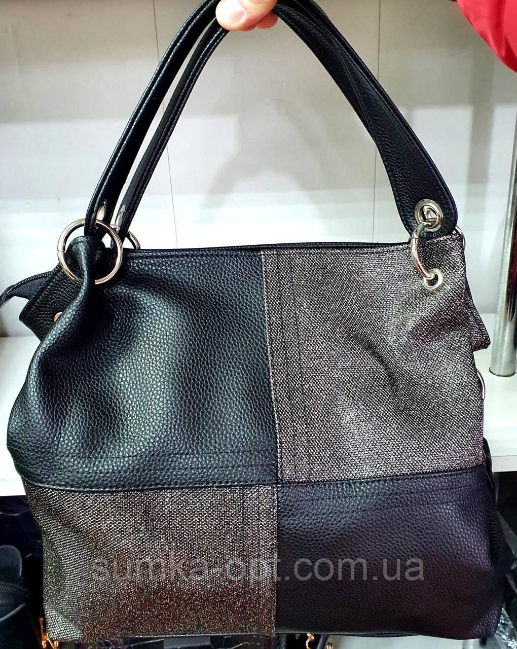 Женская качественная сумка 30*27 см, черная кожзам