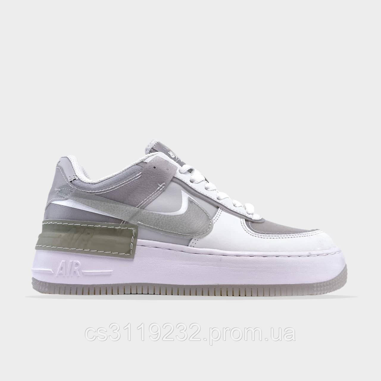 Женские кроссовки Nike Air Force Shadow Grey White (белый)