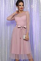Нарядное пудровое платье женское МАУЛИНА