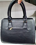 Женская каркасная сумка 33*24 см, черная змея, фото 2