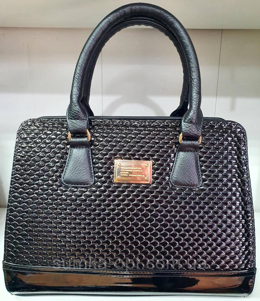 Женская каркасная сумка 33*24 см, черная змея