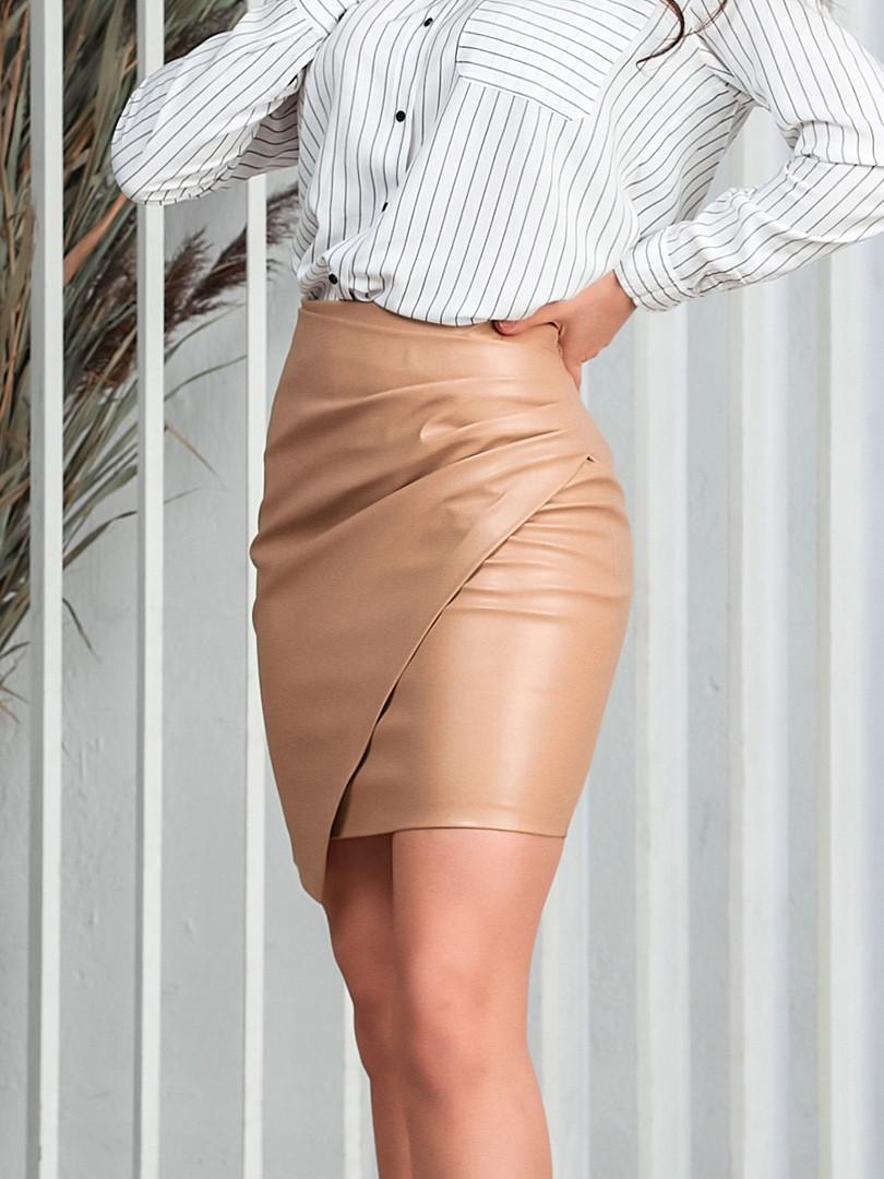 Жіноча шкіряна міні спідниця.Розміри:42/44,44/46+Кольору