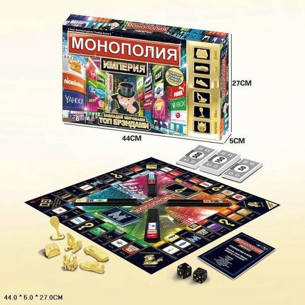 """Игра большая настольная """"Монополия-Топ бренды"""" 801-Е  и карточками банка, 43,5*27*15"""
