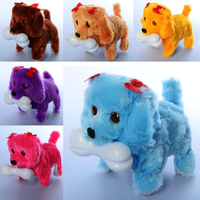 Собака MP 1789, 15см, ходит, звук, свет, 6цветов, на бат-ке, в кульке, 15-12-9см