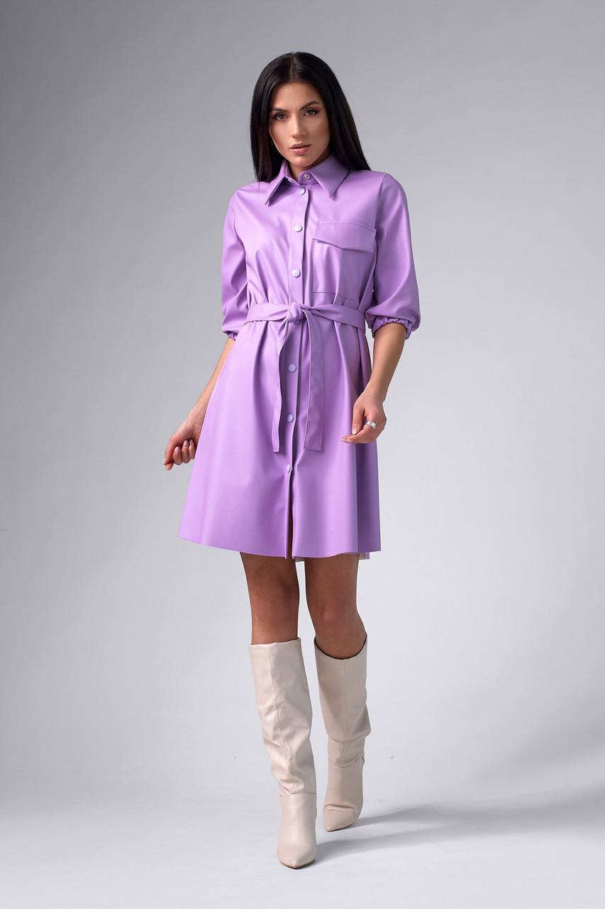 Лавандовое платье из эко-кожи