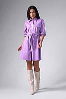 Лавандовое платье из эко-кожи, фото 1