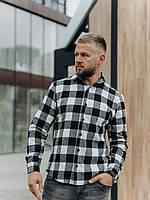 Мужская рубашка (унисекс) в клетку белая M, XL