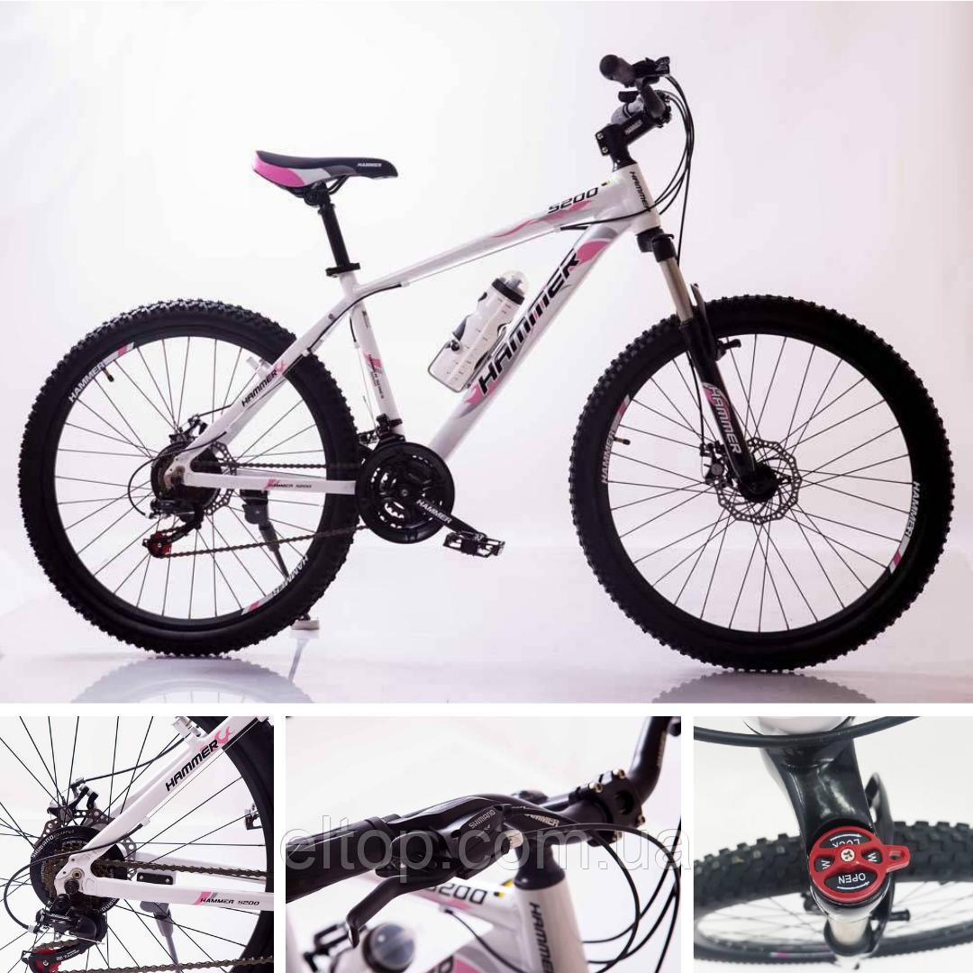 Спортивный горный велосипед HAMMER S200 26 дюймов алюминиевая рама бело-розовый