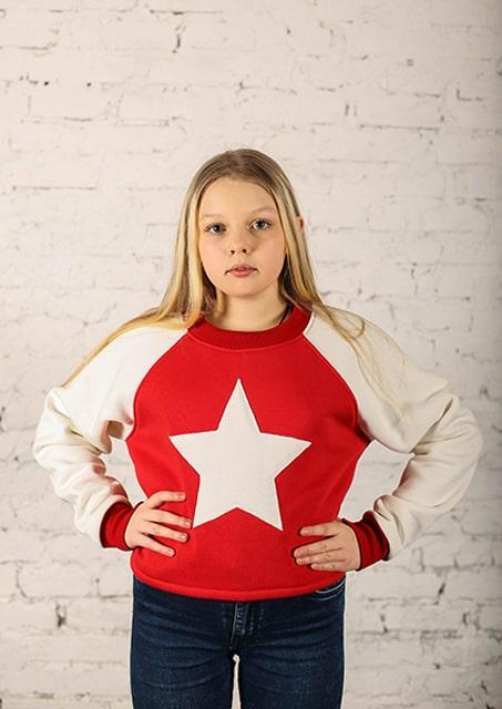 Детский теплый трикотажный свитшот (худи, толстовка, реглан, кофта) Звезда (599)