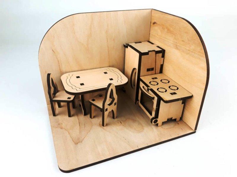 """Деревянный 3D конструктор """"Кухня"""" комната с мебелью 131912"""