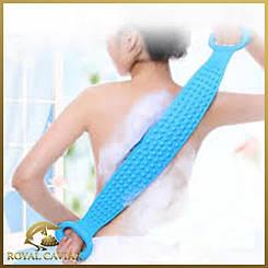 Силіконова мочалка для душу двостороння 70 см натуральна масажер для тіла і спини проти целюліту синя